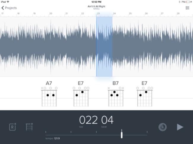 Режим автоматического распознавания аккордов в Capo Touch