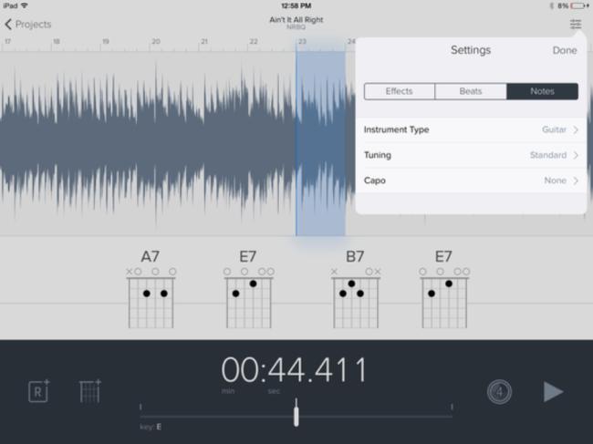 Меню с настройками вашего проекта. Вкладки: Beats, Notes, Effects