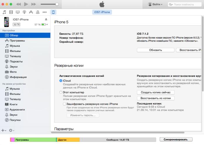 Обзор устройства в iTunes