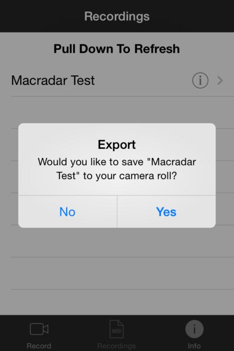 Экспорт iRec