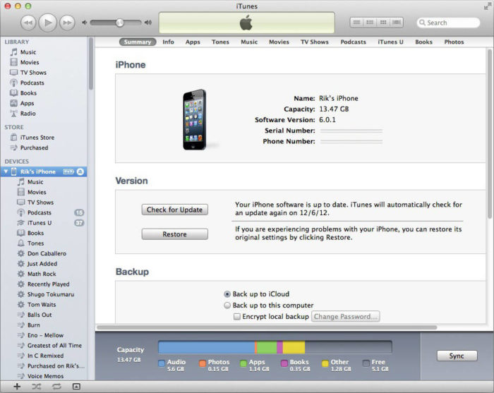 Интерфейс iTunes на Mac OS