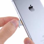 Расположение лотка сим-карты на iPhone 6