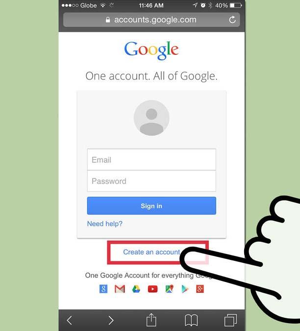 Добавление учетной записи Google