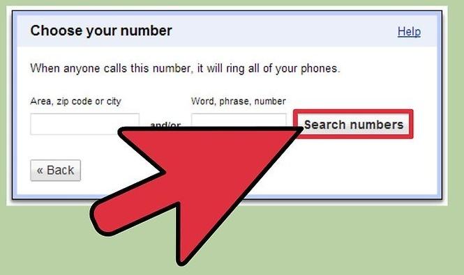 Выбор номера Google Voice
