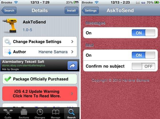 [Cydia] AskToSend: подтверждение отправки SMS и E-mail