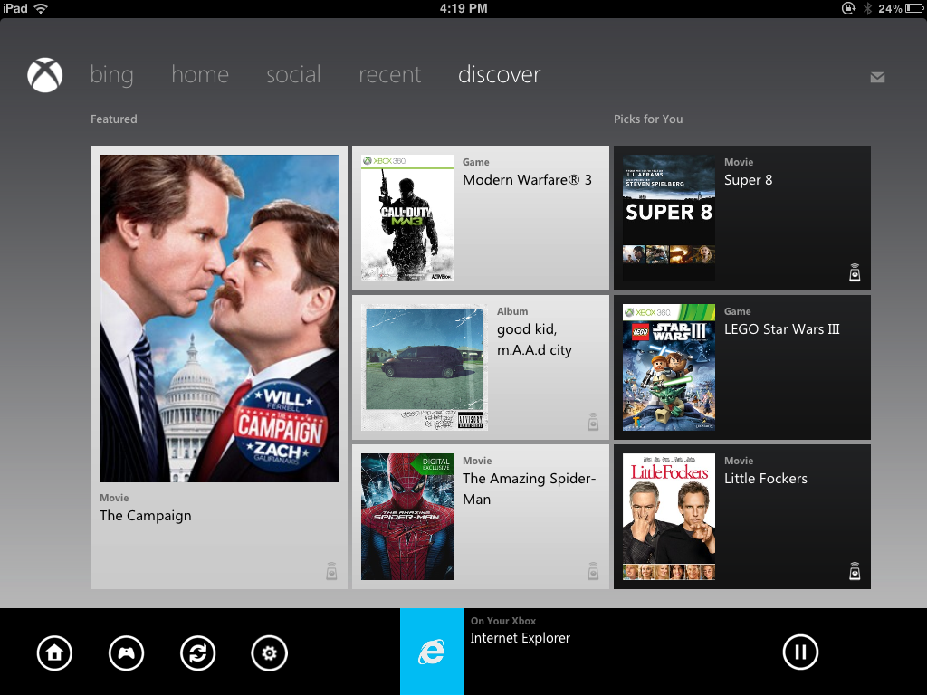 SmartGlass - Xbox игры на экране iPad