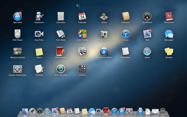 рабочий стол установленной Mac OS X 10.8.2 Mountain Lion