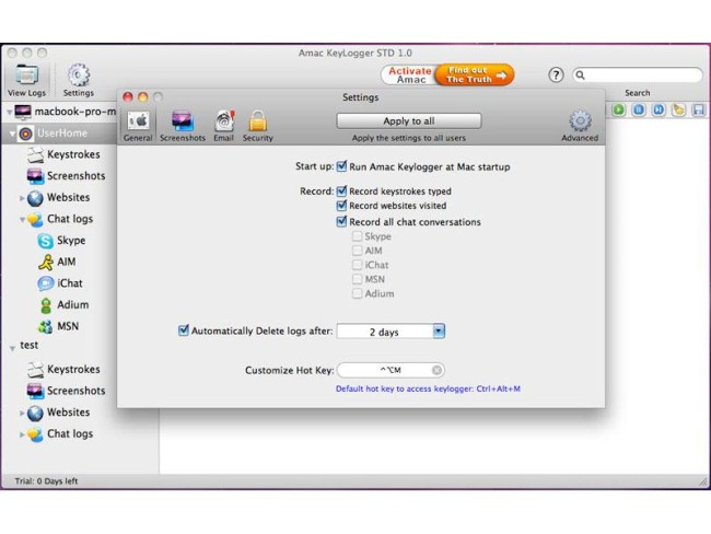 программа Amac Keylogger для MAC