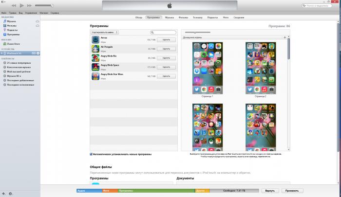 Внешний вид боковой понели iTunes