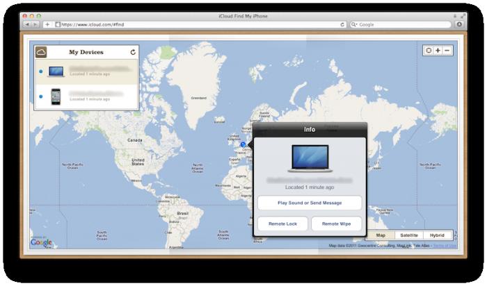 Фото карты, которая отображается в Find My iPhone
