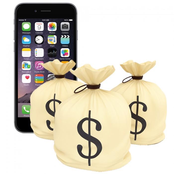 Три мешочки с деньгами на фоне айфона