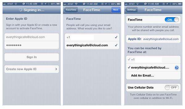 фото окна «Использовать Apple ID для FaceTime»