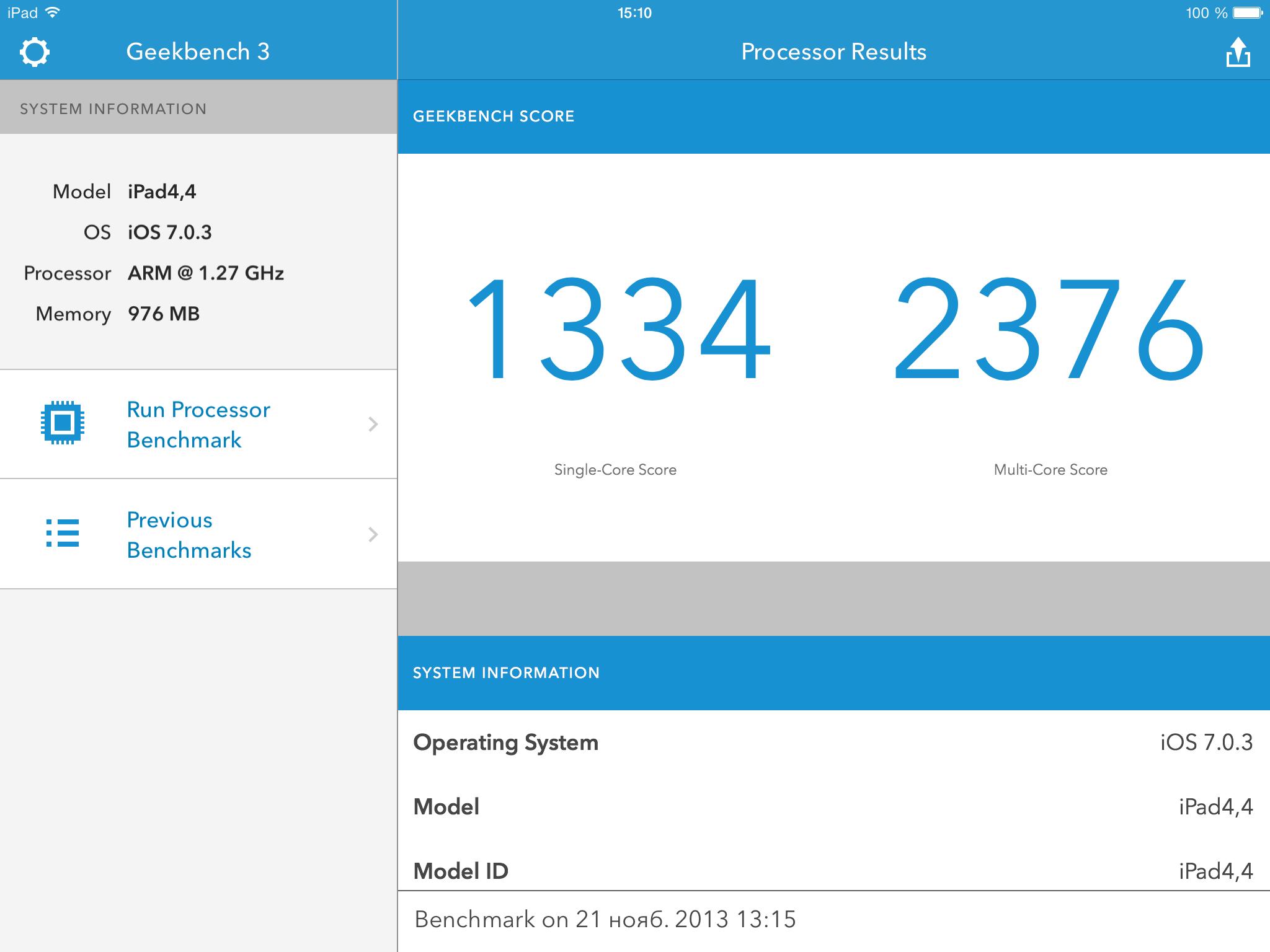 Результаты тестов производительности iPad Mini с Retina