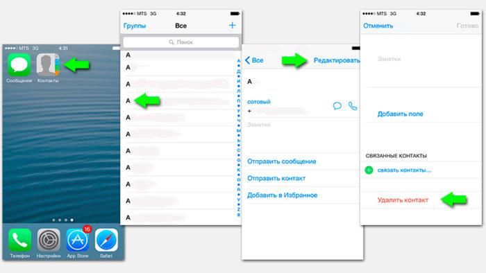 Удаление одного контакта с iPhone