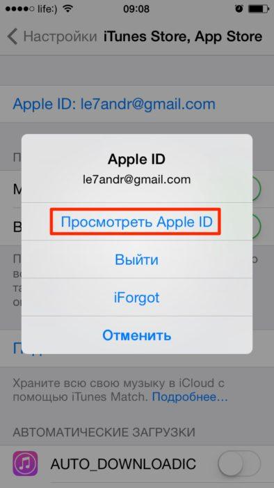 «iTunes Store и App Store» в меню настроек айфона