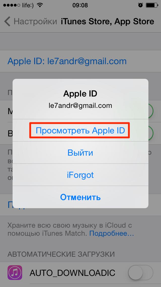 Настройка идентификатора Apple ID для работы с магазинами
