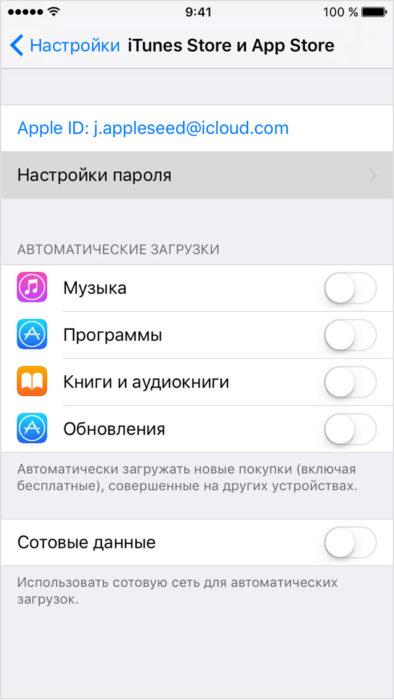 «iTunes Store и App Store» в меню настроек iPhone, iPod touch и iPad