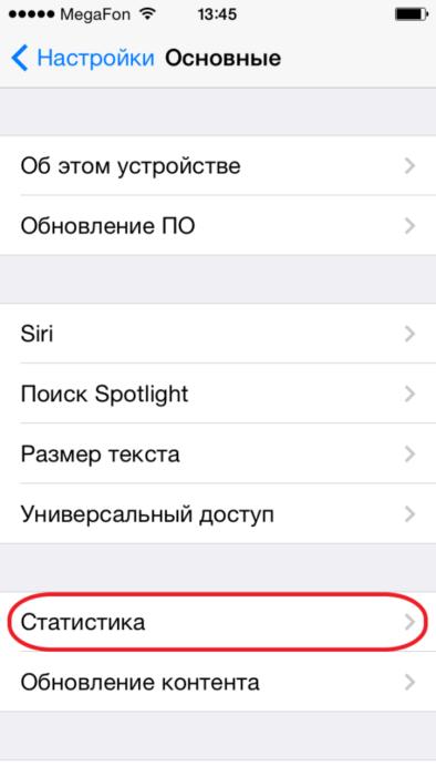 Меню Статистика в настройках IPhone