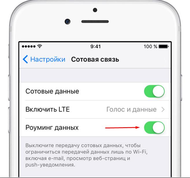 Подключение передачи сотовых данных
