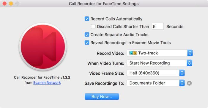 Настройки программы FaceTime