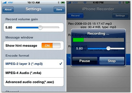Окно настроек iPhone Recorder